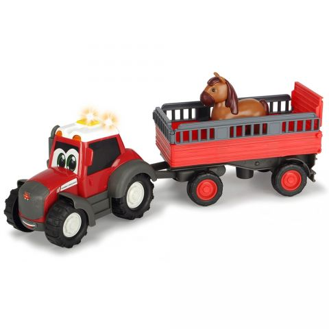 Dickie Toys Tractor Dickie Toys Happy Ferguson Animal Trailer cu remorca si figurina cal