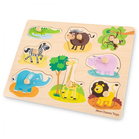 New Classic Toys Puzzle lemn Safari 9 piese NEW