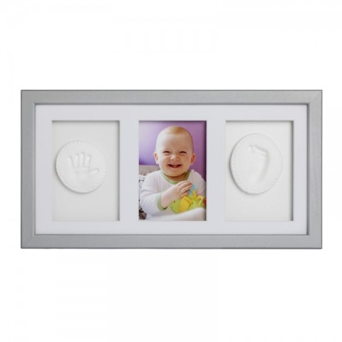 Baby HandPrint Double Memory Frame Silver