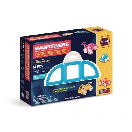 Magformers Joc de constructie magnetic My First Masina albastra (14 piese)