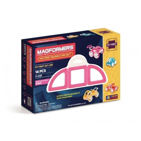 Magformers Joc de constructie magnetic My First Masina roz (14 piese)