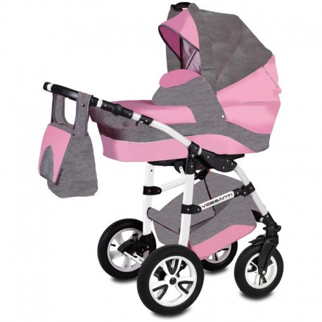 Vessanti Carucior Flamingo Easy Drive 3 in 1 - Gray/Pink