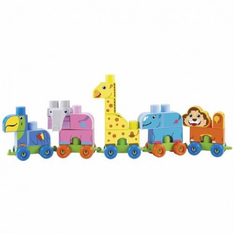 Ecoiffier Set de Construit Maxi Cuburi Colorate cu Tren si Animale de la Zoo Abrick