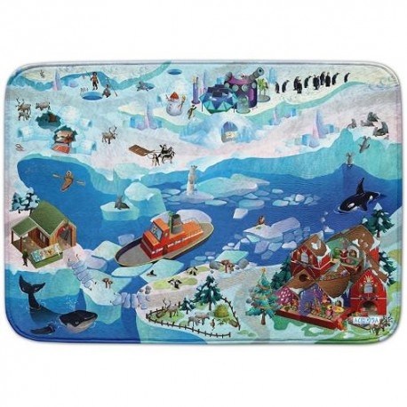 House of Kids Covoras de Joaca Ultra Soft Connect Peisaj Arctic 2018, 150 x 100 cm