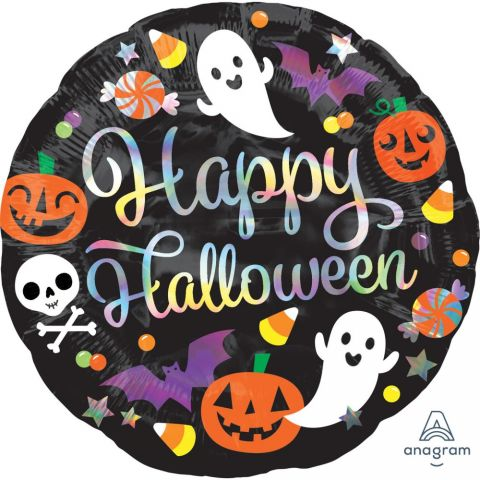 Balon folie 45 cm rotund Holografic Happy Halloween, A39992