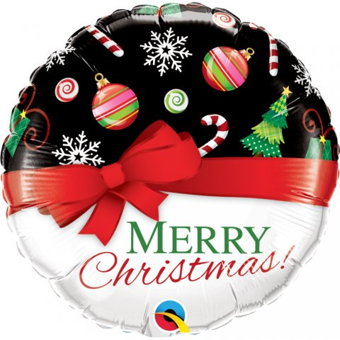 Balon folie 45 cm merry christmas, qualatex 52210