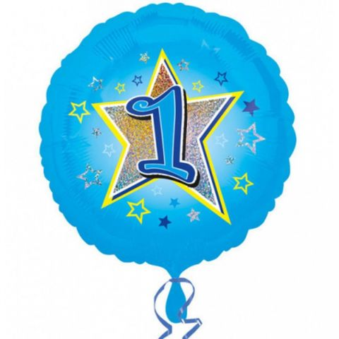 Balon folie inscriptionat blue stars 1st - 45 cm, radar 29532