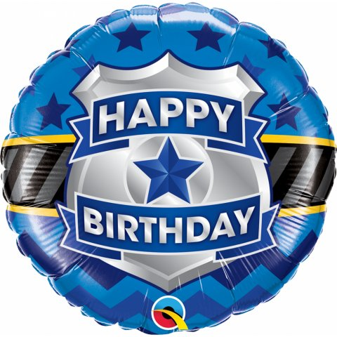 Balon folie 45 cm happy birthday badge, qualatex 85909