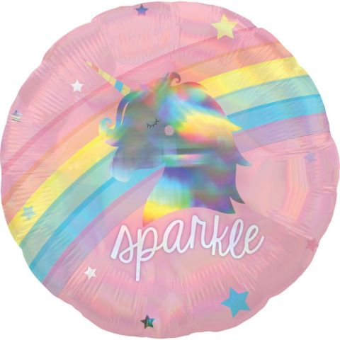 Balon folie 45 cm rotund holografic magical rainbow, a39747