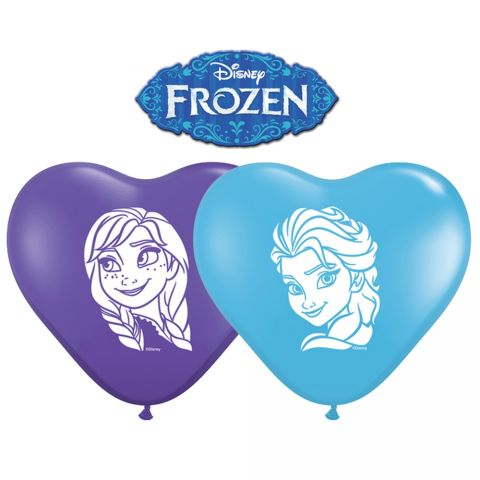 Baloane latex inima 6''/15cm inscriptionate frozen - anna & elsa, qualatex 12932, set 100  buc
