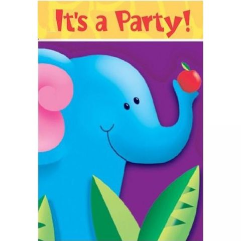 Invitatii de petrecere jungle party, amscan 495026, set 6 buc