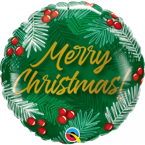 Balon folie 45 cm - merry christmas, qualatex 89853, 1 buc