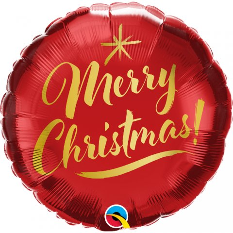 Balon folie 45 cm - merry christmas gold script, qualatex 89850, 1 buc