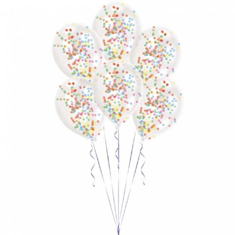 Amscan Baloane latex 28 cm inscriptionate cu confetti multicolore pastel, 9901847, set 6 buc