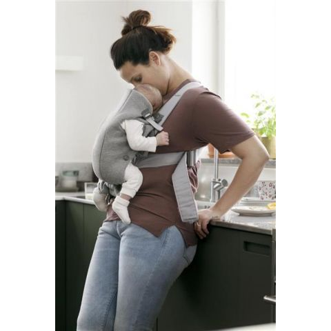 BabyBjorn - Marsupiu anatomic Mini, cu pozitii multiple de purtare   Light Grey, 3D Jersey