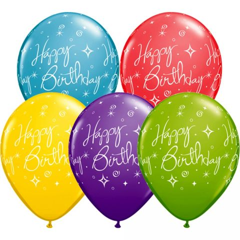 Baloane latex 11''/28 cm happy birthday, qualatex 19166, set 25 buc