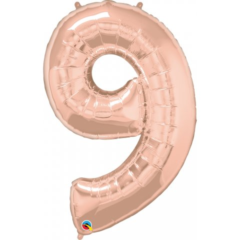 Balon folie figurina cifra 9 rose gold - 42''/106 cm, qualatex 57880