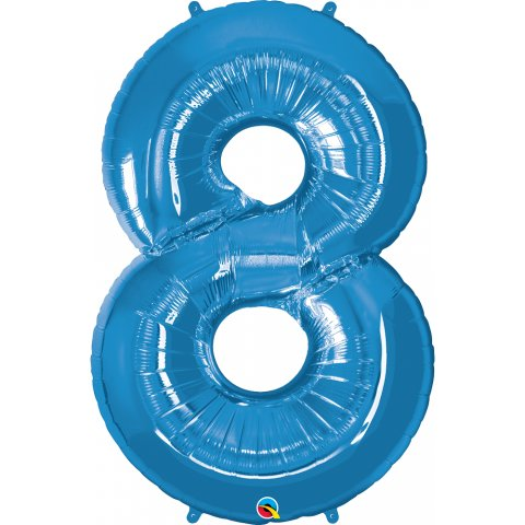 Balon folie cifra 8 albastru - 42''/106cm, qualatex 30543